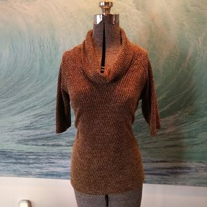 Short Sleeve Slouchy Cowl Neck Sweater